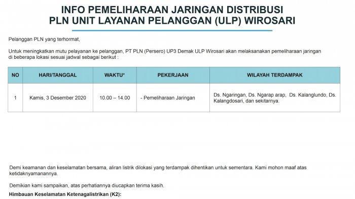 Info Pemeliharaan Jaringan Listrik PLN ULP Wirosari Kamis 3 Desember 2020