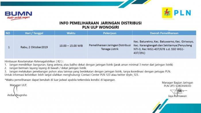 Info Pemeliharaan Jaringan Listrik PLN ULP Wonogiri Hari Ini, Rabu 2 Oktober 2019