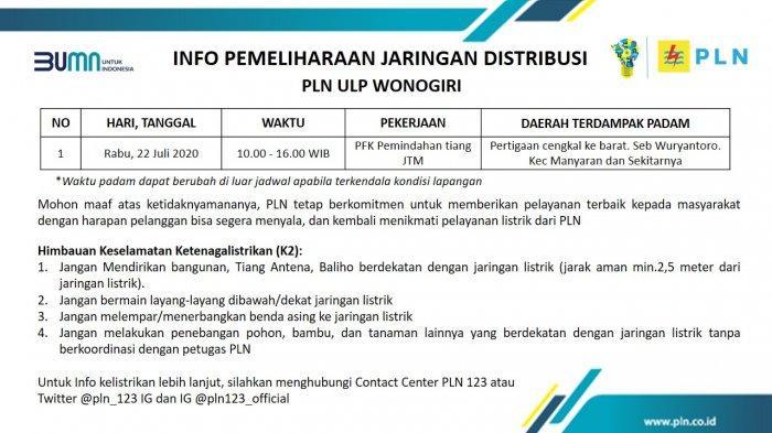 Info Pemeliharaan Jaringan Listrik PLN ULP Wonogiri, Rabu 22 Juli 2020