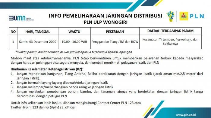 Info Pemeliharaan Jaringan Listrik PLN ULP Wonogiri Kamis 3 Desember 2020