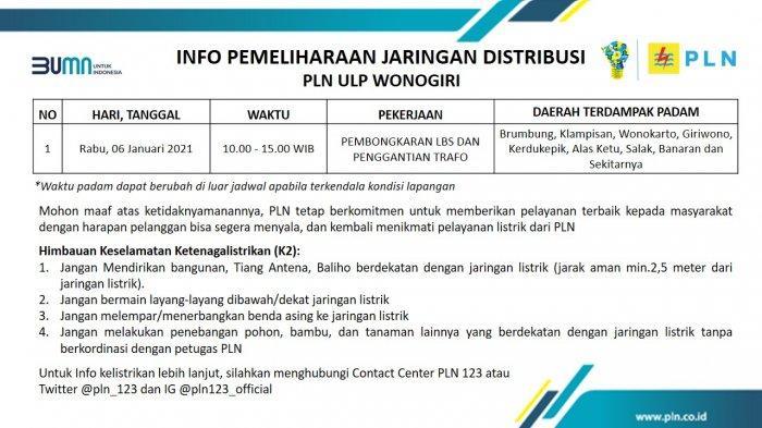 Info Pemeliharaan Jaringan Listrik PLN ULP Wonogiri Rabu 6 Januari 2021