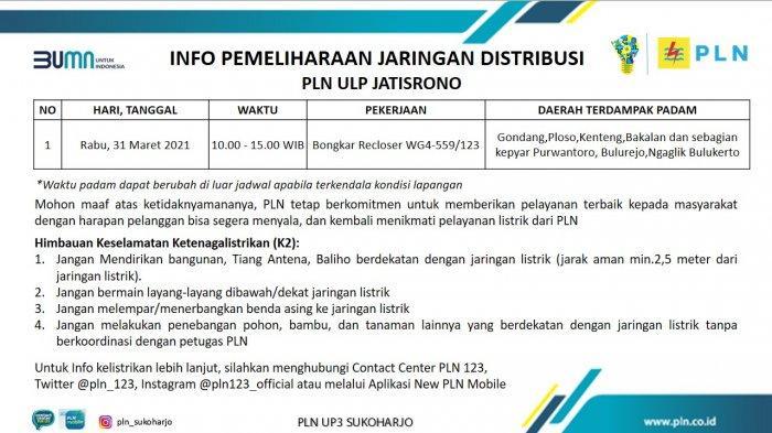 Info Pemeliharaan Jaringan Listrik PLN ULP Jatisrono Rabu 31 Maret 2021