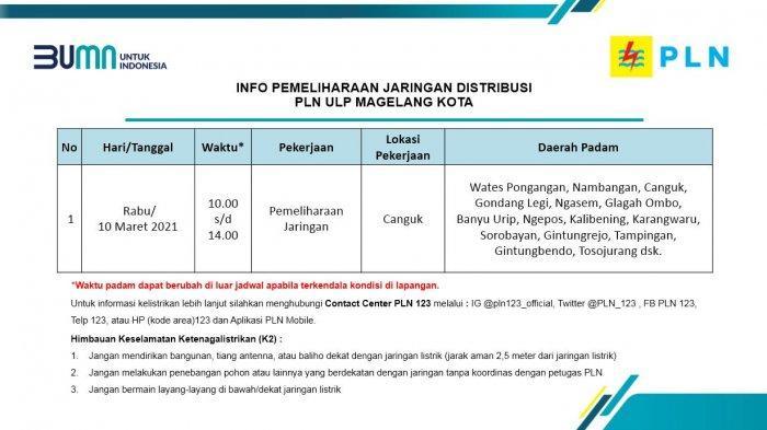 Info Pemeliharaan Jaringan Listrik PLN ULP Magelang Kota Rabu 10 Maret 2021