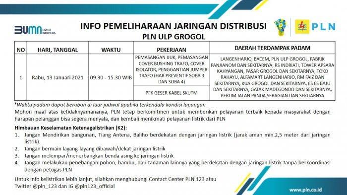 Info Pemeliharaan Jaringan Listrik PLN ULP Grogol Sukoharjo Rabu 13 Januari 2021