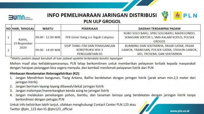 Info Pemeliharaan Jaringan Listrik PLN ULP Grogol Sukoharjo Kamis 19 November 2020
