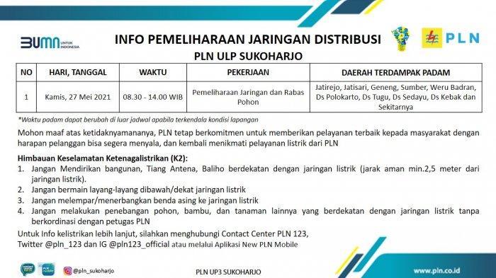 Info Pemeliharaan Jaringan Listrik PLN ULP Grogol Sukoharjo Kamis 27 Mei 2021