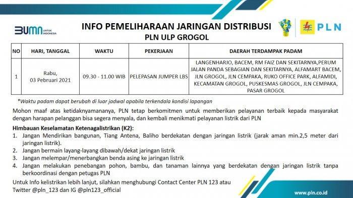 Info Pemeliharaan Jaringan Listrik PLN ULP Grogol Sukoharjo Rabu 3 Februari 2020