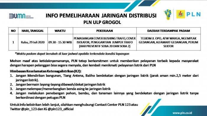 Info Pemeliharaan Jaringan Listrik PLN ULP Grogol Sukoharjo Rabu 29 Juli 2020