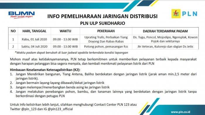 Info Pemeliharaan Jaringan Listrik PLN ULP Sukoharjo, Rabu 1 Juli 2020
