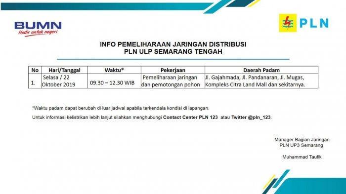 Info Pemeliharaan Jaringan Listrik PLN ULP Semarang Tengah Besok,  Selasa 22 Oktober