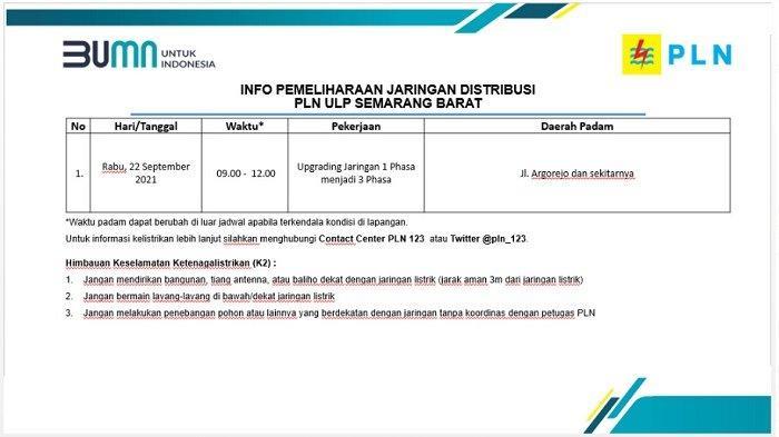 Info Pemeliharaan Jaringan Listrik PLN ULP Semarang Barat Rabu 22 September 2021