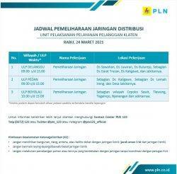 InfoPemeliharaan Jaringan Listrik PLN ULPDelanggu Klaten Rabu 24 Maret 2021
