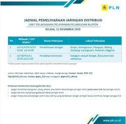 Info Pemeliharaan Jaringan Listrik PLN ULP Boyolali Selasa 22 Desember 2020