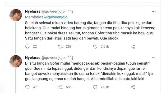 Ini Tweet Lengkap Quween Jojo yang Mengaku Diraba-raba Gofar Hilman Saat Minta Selfie