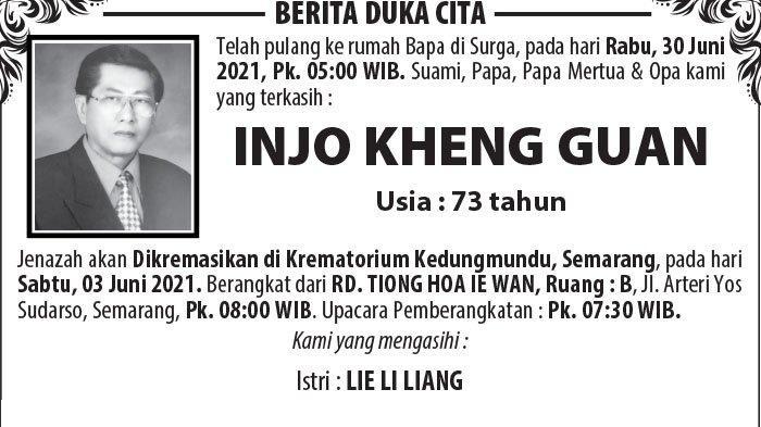 Kabar Duka, Injo Kheng Guan Meninggal Dunia di Semarang