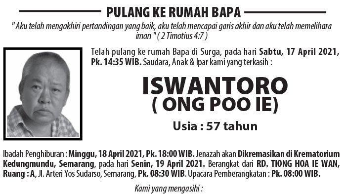 Berita Duka, Iswantoro (Ong Poo Ie) Meninggal Dunia di Semarang