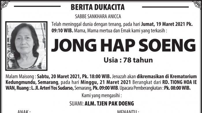 Kabar Duka, Jong Hap Soeng Meninggal Dunia di Semarang