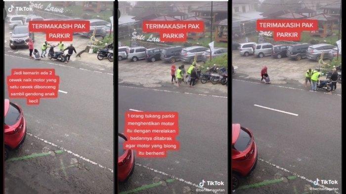 Ayya Rekam Juru Parkir Rela Ditabrak Demi Hentikan Motor Rem Blong di Tawangmangu