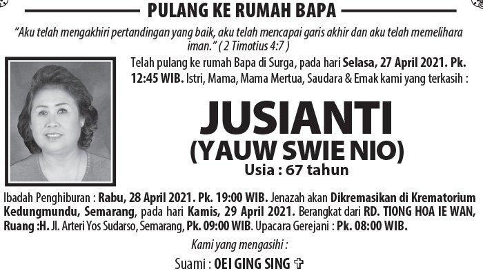 Berita Duka, Jusianti (Yauw Swie Nio) Meninggal Dunia di Semarang