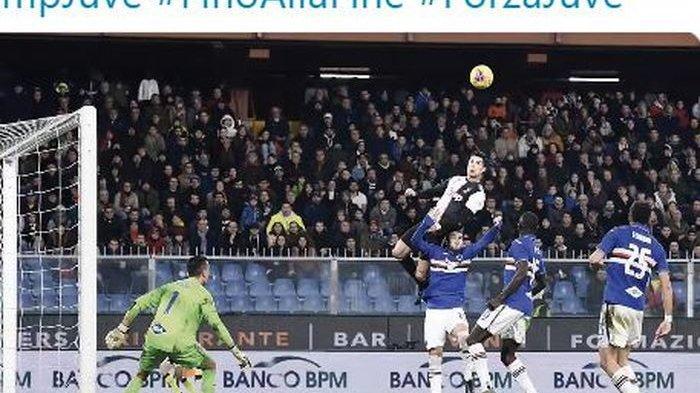 Hampir Terbang, Cristiano Ronaldo Bertahan Selama Ini di Udara Saat Cetak Gol Sundulan ke Sampdoria