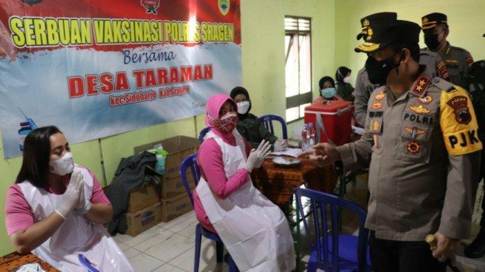 Tinjau Pelaksanaan Vaksinasi di Taraman Sragen, Kapolda Jateng: Prokes Prioritas Pertama