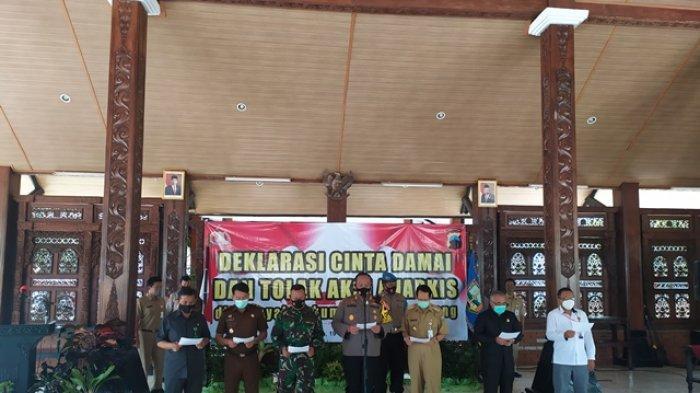 AKBP Gatot Hendro Hartono Pimpin Deklarasi Cinta Damai Menolak Unjuk Rasa Anarkis di Kab Semarang