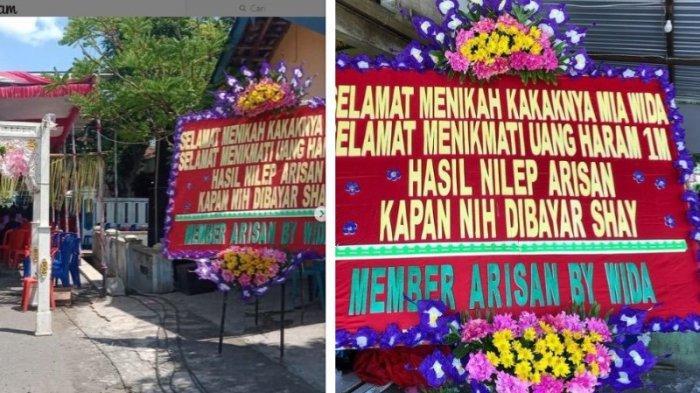 Cerita di Balik Viral Pernikahan di Sragen DikirimiKarangan Bunga Tagihan Arisan 1 M