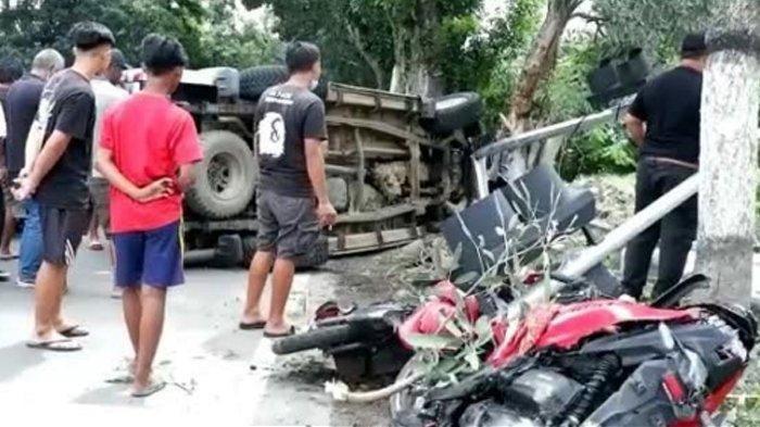 Kecelakaan Maut di Kediri Mobil vs Sepeda Motor, 2 Orang Tewas di Tempat