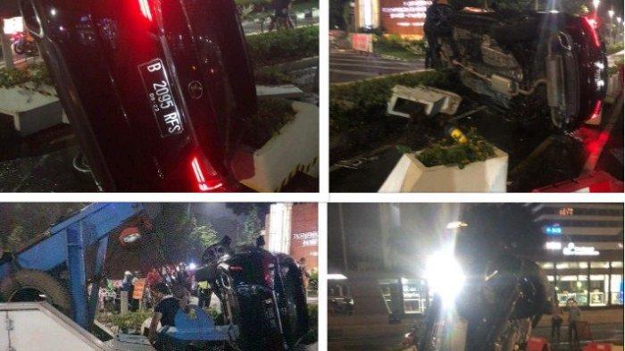Kecelakaan Lexus RX Berpelat RFS Terguling Hingga Rusakkan Fasilitas Umum