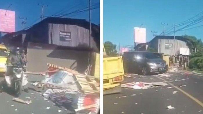 Kecelakaan Truk Angkut Keramik Terguling 1 Meninggal