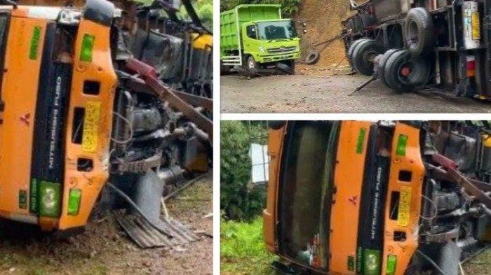 Kecelakaan di Sitinjau Lauik Truk Terguling hingga Ringsek Seluruh Roda Lepas