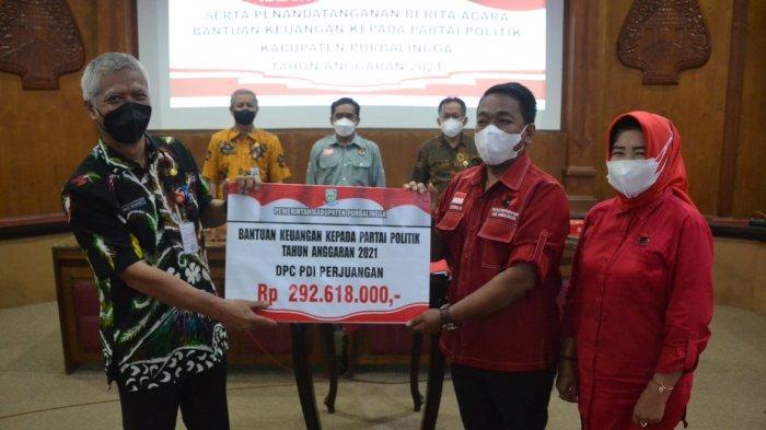 Guna Edukasi Pemilih, 9 Parpol di Purbalingga Terima Bantuan Keuangan