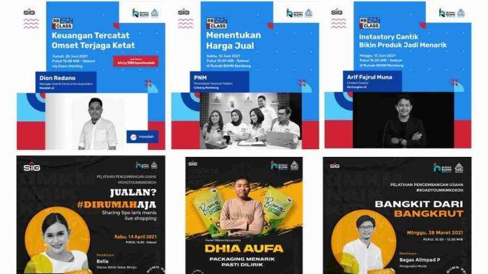 Kolase beberapa poster kegiatan Rumah BUMN Class. Kelas dan pelatihan yang menjadi bagian dari UMKM Kokoh untuk menjawab permasalahan dari para pelaku usaha UMKM di Kabupaten Rembang.