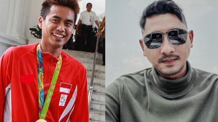 Kolase foto Tontowi Ahmad dan Arya Saloka.