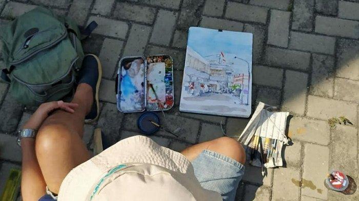 Pelukis Semarang Rekam Pasar Johar Baru Lewat Lukisan Abadikan Bangunan Pasar Johar Bersejarah