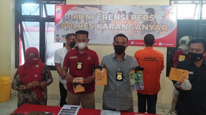 Konferensi pers kasus tindak pencurian di Kantor Satreskrim Polres Karanganyar, Rabu (28/4/2021).