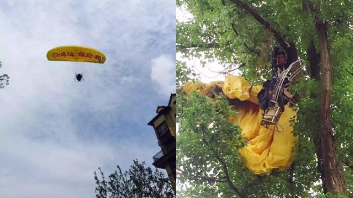 KONYOL, Terjun untuk Bikin Kejutan Nyatakan Cinta Malah Parasut Nyangkut Pohon