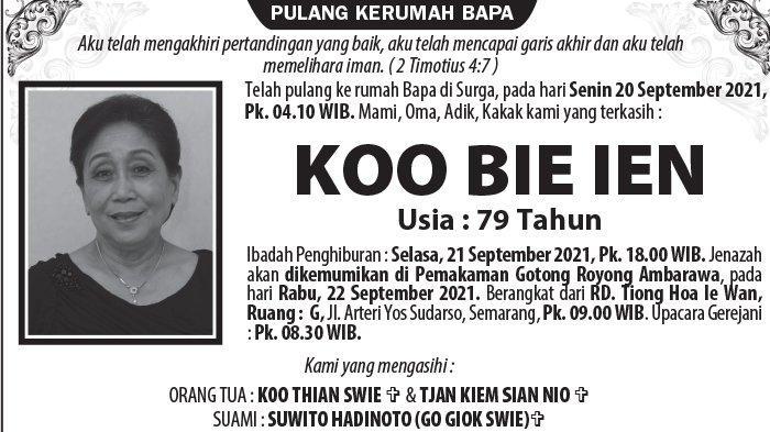 Berita Duka, Koo Bie Ien Meninggal Dunia di Semarang