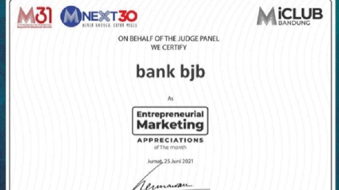 KPR Gaul bank bjb Mendapat Penghargaan dari MarcPlus Inc