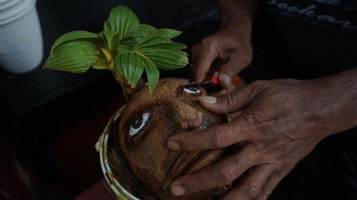 Kreasi Tangan Totok,Bonsai Kelapa Berkarakter Wajah hingga Hewan