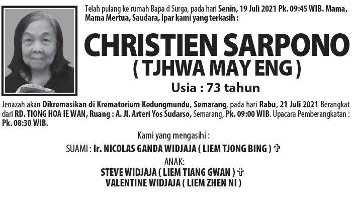 Berita Duka, Christien Sarpono (Tjhwa May Eng) Meninggal Dunia di Semarang