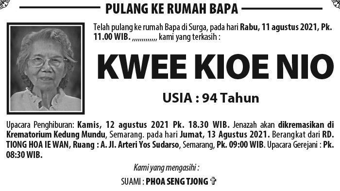 Berita Duka, Kwee Kioe Nio Meninggal Dunia di Semarang