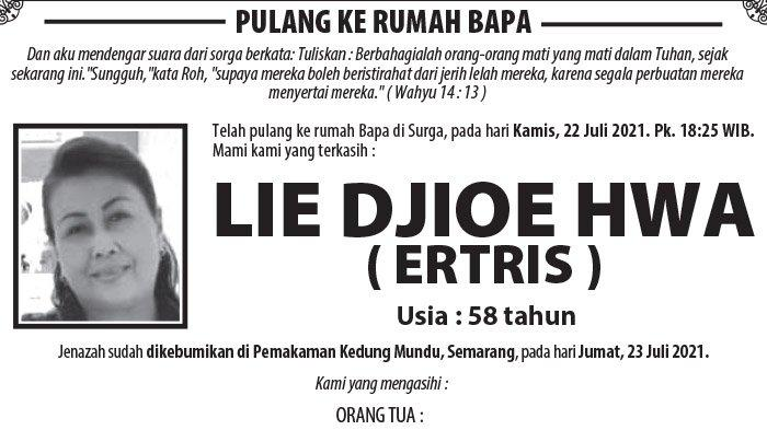 Berita Duka, Lie Djioe Hwa (Ertris) Meninggal Dunia di Semarang