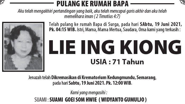 Berita Duka, Lie Ing Kiong Meninggal Dunia di Semarang