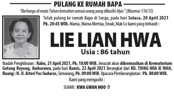 Kabar Duka, Lie Lian Hwa Meninggal Dunia di Semarang
