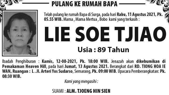 Kabar Duka, Lie Soe Tjiao Meninggal Dunia di Semarang
