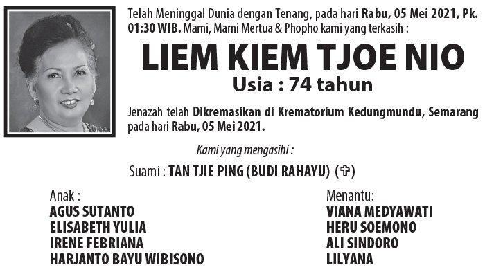 Berita Duka, Liem Kiem Tjoe Nio Meninggal Dunia di Semarang