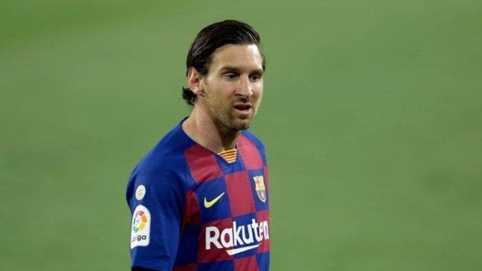 Lionel Messi pada laga Sevilla vs Barcelona di Stadion Ramon Sanchez Pizjuan dalam lanjutan pekan ke-30 LaLiga, kasta teratas Liga Spanyol, Jumat 19 Juni 2020.(AFP/ CRISTINA QUICLER)