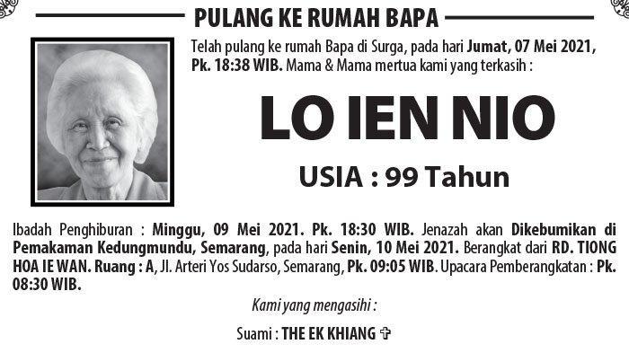 Berita Duka, Lo Ien Nio Meninggal Dunia di Semarang