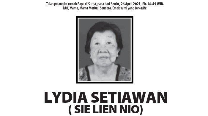 Berita Duka, Lydia Setiawan (Sie Lien Nio) Meninggal Dunia di Semarang